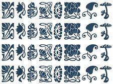 """Art Nouveau Flowers  5"""" X 7"""" Card Blue Fused Glass Decals 19CC1177"""