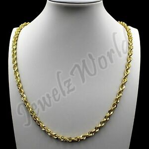 """Mens 10K Solid Yellow Gold 5mm Diamond Cut Rope Chain Necklace Bracelet 8"""" - 30"""""""
