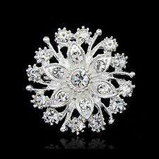 Snowflake Bouquet Wedding Silver Flower Crystal Brooch Pin Mother's Day Gift New