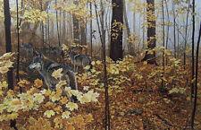 """Ron Parker  """"  Autumn Maple Wolves  """" # 51/950 ($300 Value) MINT W/CERT RARE"""