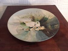 Unusual Hand Painted Plate With Swan & Cygnets