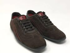 Tods Ferrari Suede Leather Sneakers Brown Red Mens Size 7 EUC