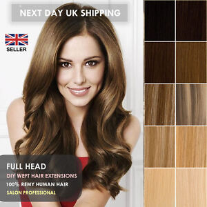 DIY Human Hair Weft/Weave Extensions 100% Remy Full Head UK seller