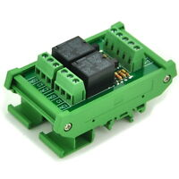 DIN Rail Mount 2 SPDT Power Relay Interface Module, OMRON 10A Relay, 24V Coil.