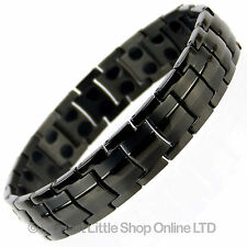 Mens Jet Black TITANIUM Magnetic Bracelet NEW 44 Magnets NdFeB Neodymium Therapy