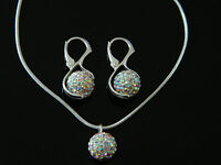 Elegante Shamballa Set Gioielli cristallo trasparente Orecchini & Collana CC163