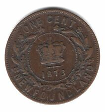 1873 Newfoundland Canada One Large Cent Copper Penny Coin A143