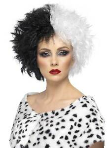 Short Black & White Afro Wig, Evil Madam wig, black and white