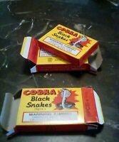 3 X Cobra Fireworks Jumbo Size Vintage Black Snake crawlers complete  BOX LABELS