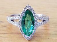 Vintage Green Emerald Diamond Marquise Anniversary Ring 14K White Gold