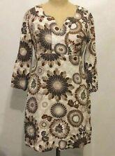 BODEN Casual LINEN TUNIC DRESS 3/4 Slv BOHO Brown Floral Dots 4 US/ 8 UK