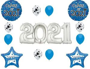 Graduation Class of 2021 Blue & Silver Numbers Party balloons decorations suppli