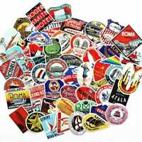 55 Pcs/lot Vintage Old Fashioned Style Luggage Suitcase Travel Stickers Y4B7