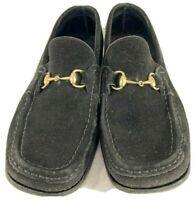 GUCCI Women's Black Suede Loafers Horsebit Shoes Size Marked as 7.5B US