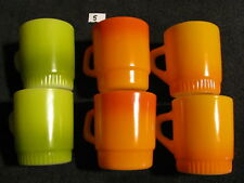 6 Vintage Anchor Hocking Fire King Stacking Coffee Cups Mugs Multi-Colors    5