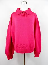 Womens Vtg Farm Retro Pink Mum Grandma Hand Made Wool Knit Jumper Oversized BI84