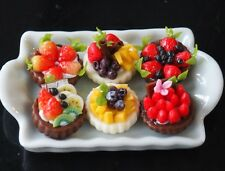 DOLLHOUSE MINIATURE 6 MINI FRUIT TART PIE ON A TRAY TOY FOOD SUPPLY BAKERY DECO