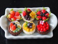 DOLLHOUSE MINIATURE 6 MINI FRUIT TART PIE ON A TRAY TOY FOOD SUPPLY BAKERY DECO