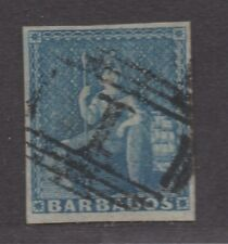 **Barbados, SC# 6 Used, FVF 4 Margin Single Stamp, CV $70.00