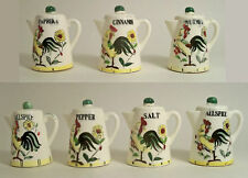 VTG MCM ROOSTER & ROSES MOTIF TEAPOT SHAPED SPICE SET COUNTRY KITCHEN JAPAN 50's