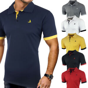 Mens 2 Pack Short Sleeve Contrast Collar Fashion Polo T-Shirt Black S M L XL XXL