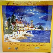Sunsout Puzzle 1000 piece A Time To Celebrate Christmas Winter Coast - Complete