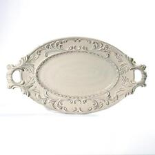 Intrada Baroque Ceramic Cream Large Oval Tray w/ 2 Handles Made in Italy