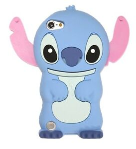 iPod Touch 5th 6th & 7th Gen - Cute Blue Stitch Soft Rubber Silicone Case Cover