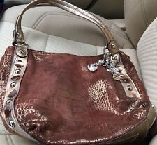 Brown KATHY VAN ZEELAND Shoulder HANDBAG - 3 Compartments & Silver Heart Charms