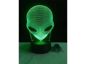 Alien Head 3D Hologram Illusion Unique Lamp Acrylic Touch Switch Lava Night Lamp