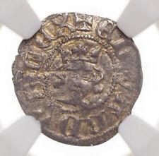 ENGLAND. Edward II. 1307-1327. Silver Halfpenny, S-1472, NGC AU55