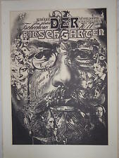 """PLAKAT DER KOMÖDIE """"DER KIRSCHGARTEN"""" DÜSSELDORFER SCHAUSPIELHAUS VON 1976/1977"""