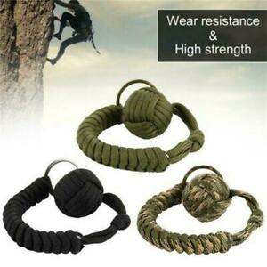 """2Pcs Tactical Paracord Monkey Fist Keychain With 1"""" Steel Ball Black Keychain"""