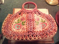 ISABELLA FIORE LEATHER LINK HOBO BAG, LARGE, W FLORAL DESIGN ON ONE SIDE, UNUSED