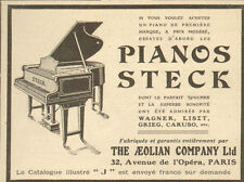 PARIS THE AEOLIAN COMPANY PIANOS STECK PUBLICITE 1911