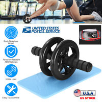 Ab Roller Dual Wheel Abdominal Exercise Fitness Home Gym Equipment + Knee Pad