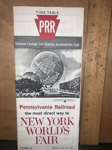 1965 PRR PENNSYLVANIA RAILROAD NEW YORK WORLD'S FAIR TIMETABLE July 25,1965.