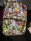 """Marvel Comic Backpack Book Bag Tote Full Size 16"""" Multi Color School collage"""