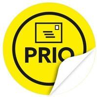 48 Hinweisaufkleber PRIO Versand-Etiketten Sticker gelb