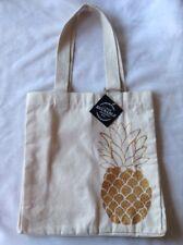 Pineapple Gold Metallic Canvas Beach Bag Reusable Shopping Tote