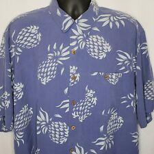 WTF Pineapple Print Hawaiian Shirt Mens XL Button Front 100% Silk Blue