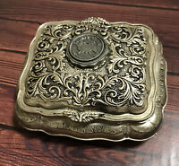 Hunters Creek Silver Tone Vintage Trinket Box