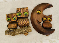 Vintage SET OF 2 60-70s Carved WOOD OWLS Tree & MOON Wall ART ORANGE GREEN Eyes