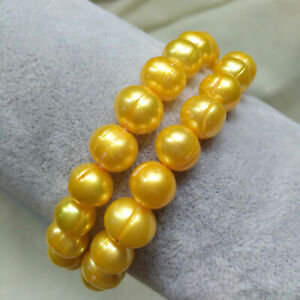 """Double Strands Noble Baroque South Sea Yellow Pearl Bracelet 7.5-8"""" 14k Gold P"""