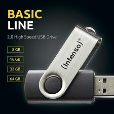 USB Stick Intenso Basic Line 2.0 USB-Stick 8/16/32/64 GB Flash Drive Stick