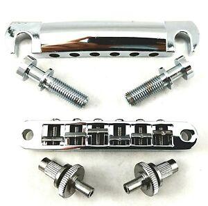Gibson Chrome 6-String Bridge w/ Posts & Tailpiece w/ Studs API HW89