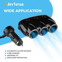 3Way Cigarette Lighter Socket Splitter Adapter Dual QC3.0 Car Charger 12/24V