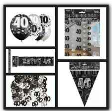 40th Happy Birthday Party Supplies Decorations Pack In Black