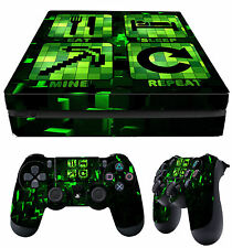 PS4 Playstation 4 Fin Skin Eat Sleep Mine Repeat + PAD Décalques VINYL Plat