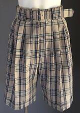 Vintage NWOT 1980's KATIES Beige, Navy & White Check Walking Shorts Size 8